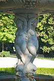 sculptures at fountain in Madrid park