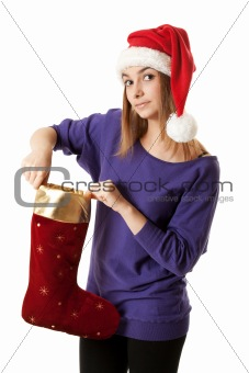 Beautiful girl in red Santa hat