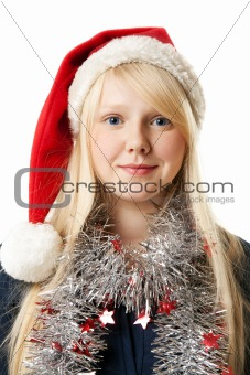 A beautiful young blonde in a Santa hat