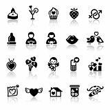 Set valentine's day icons, love romantic sign