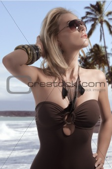 blond summer girl with sunglasses