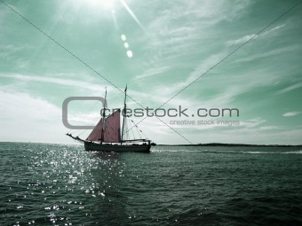 Beautiful old two mast sailboat - colored
