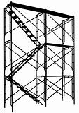 Scaffolding tower silhouette on white background
