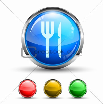 Restaurant Cristal Glossy Button