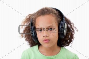 Calm girl listening to music