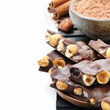 Chocolate with hazelnuts, cocoa powder and cinnamon