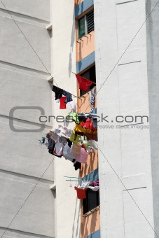 Laundry drying from windows, Singapore