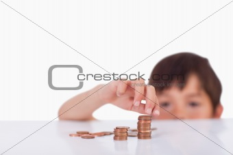 Boy counting his change