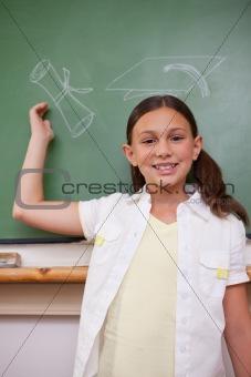 Portrait of a schoolgirl posing