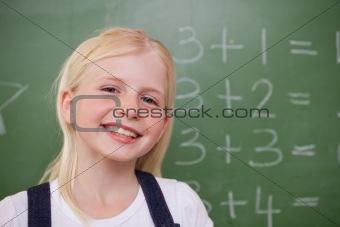 Blonde schoolgirl posing
