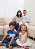 Cheerful family in the living room