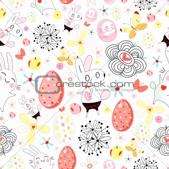 texture of easter rabbits and eggs