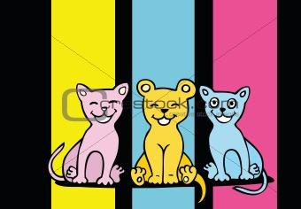 Lovers cartoon cats set