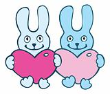 Lovers cartoon  rabbits