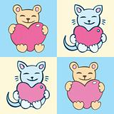 Lovers cartoon cats set
