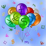 Balloons with currency signs in sky