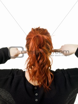 Back of a red haired woman