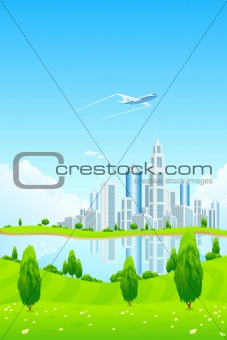 City Landscape with Green Hills and Lake