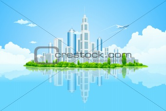 City Landscape Island with Green Trees