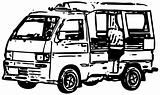 Minibus - a simplified monochrome vector