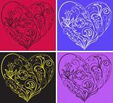 Set filigree hearts