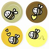 Cute doodle vector bee collection isolated on white