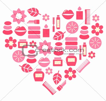 Pink abstract heart from cosmetic accessories isolated on white