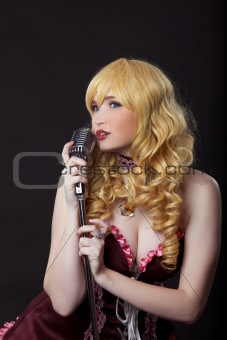 Beautiful singer cosplay anime character