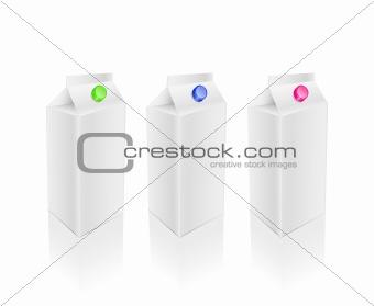 Blank white milk pack set