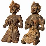 Two Sculptures of Burma (Prayer) on white