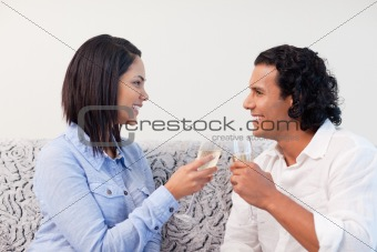 Couple drinking sparkling wine