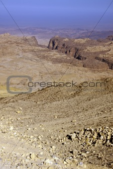 Rocky desert of southern Jordan in Asia