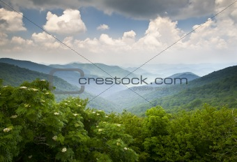 Blue Ridge Parkway Scenic Mountains Overlook Summer Landscape Asheville NC
