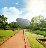 View of mount Sigiriya, Sri Lanka (Ceylon).