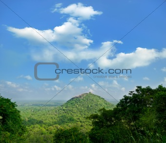 view from  mount Sigiriya  into mountain in the shape of the fem