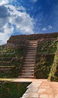 steps and the ruins of the royal palace and the park of Sigiriya