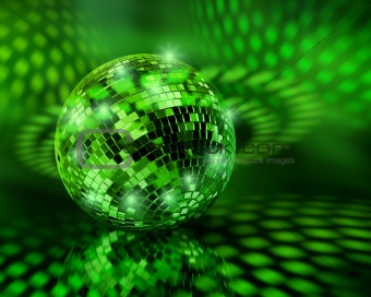Green disco ball globe