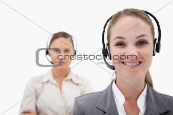 Smiling operators with headsets