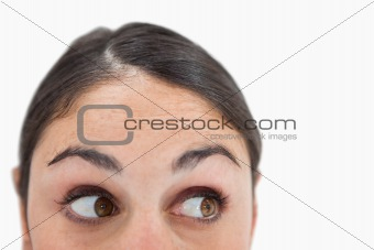 Close up of a woman looking away from the camera