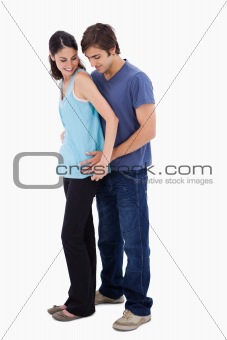 Portrait of a man embracing his girlfriend