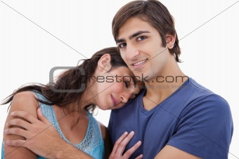 Couple embracing each other