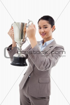 Portrait of a businesswoman holding a cup