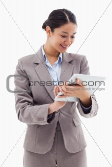 Portrait of a businesswoman using a tablet computer