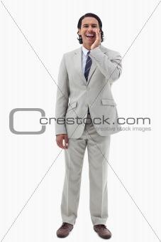 Portrait of an office worker shouting