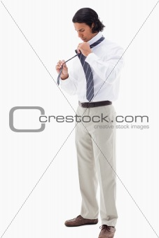 Portrait of an office worker putting his tie