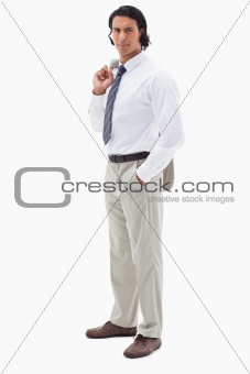Portrait of an office worker holding his jacket over his shoulder