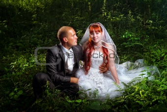 Wedding couple on grass