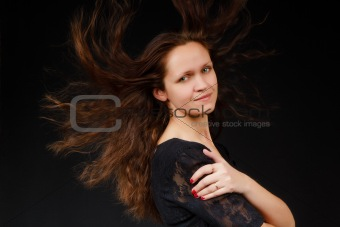 girl with flowing long hair