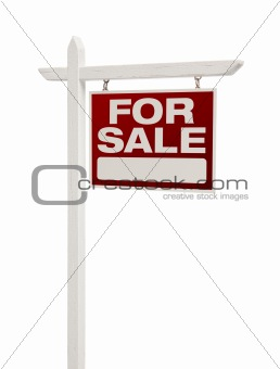 For Sale Real Estate Sign Isolated on a White Background - Facing Right.