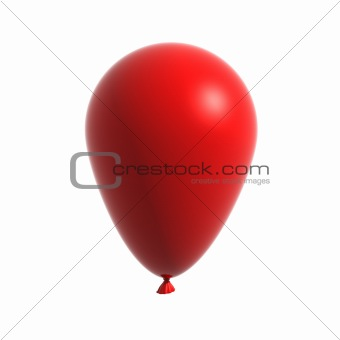3d Red balloon isolated on white